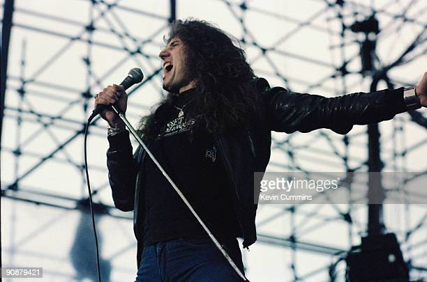English singer David Coverdale performing with heavy metal group Whitesnake at the Monsters Of Rock festival at Castle Donington racetrack 22nd...