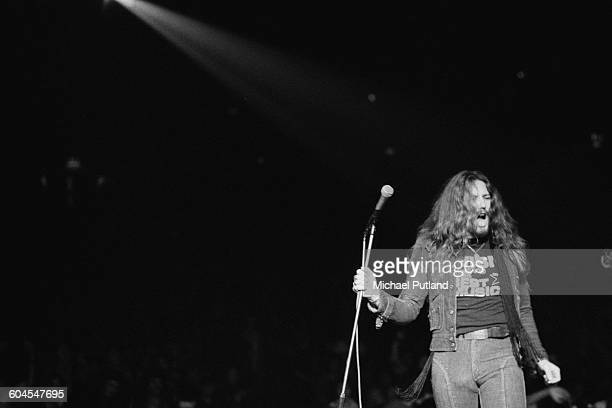 English singer David Coverdale performing with rock group Deep Purple at one of the band's two dates at the Empire Pool Wembley London 12th13th March...
