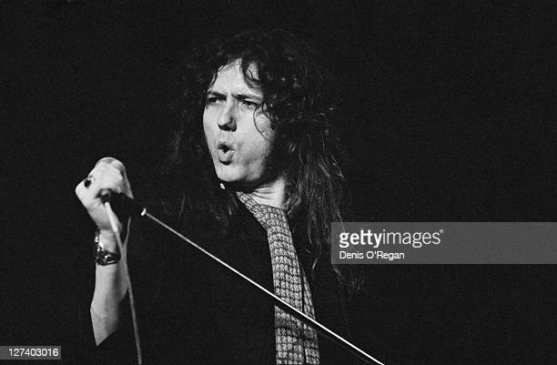 English singer David Coverdale rehearsing with his band Whitesnake at the Lyceum Theatre London 1978