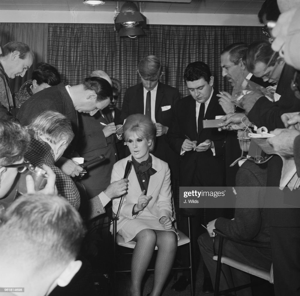 English singer Dusty Springfield is interviewed by the press at
