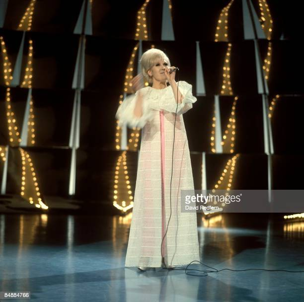 English singer Dusty Springfield , performs on the set of a television show at BBC Television Centre in London circa 1967.