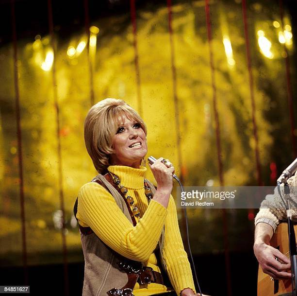 English singer Dusty Springfield performs the song 'Morning Please Don't Come' on the BBC music television show 'Top of the Pops' in London in April...