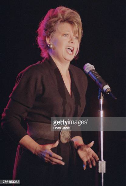 English singer Elaine Paige performs live on stage at The Savoy in London in November 1994