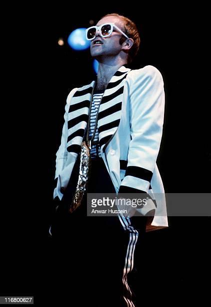 English singer Elton John on stage circa 1975 during Elton John Archive for 60th Birthday Great Britain