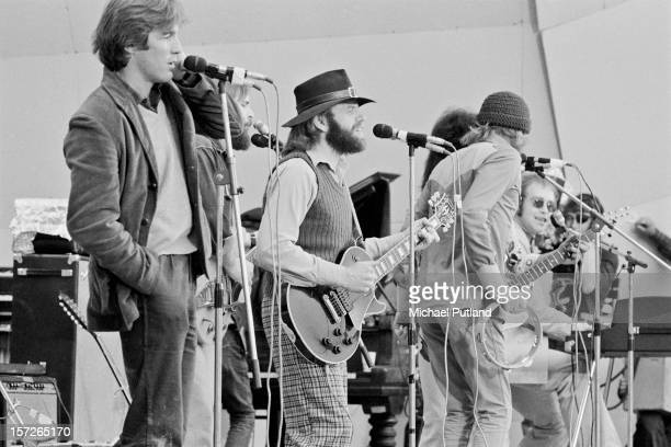 English singer Elton John performing with American pop group The Beach Boys at the Crystal Palace Garden Party 3 at Crystal Palace Bowl London 3rd...