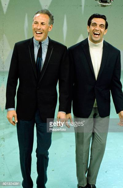 English singer Frankie Vaughan performs with the entertainer Bruce Forsyth on his television series 'The Frankie Vaughan Show' in 1965
