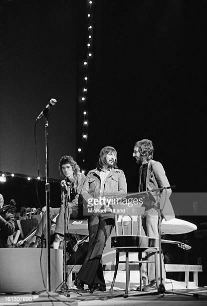 English singer Graham Bell with bassist John Entwistle and guitarist Pete Townshend of The Who at rehearsals for the stage version of the Who's rock...