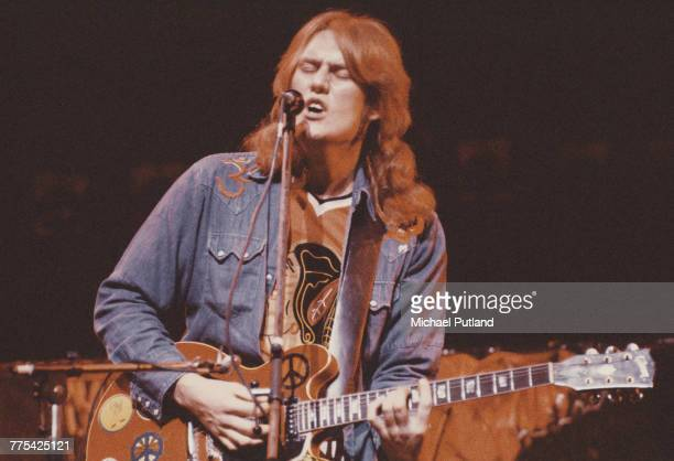 English singer guitarist and musician Alvin Lee performs on stage with Ten Years After circa 1974