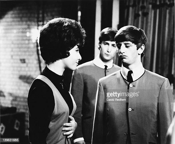 English singer Helen Shapiro with Ringo Starr and John Lennon of the Beatles during rehearsals for the TV music programme 'Ready Steady Go' at...