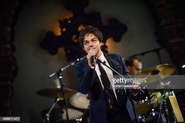 English singer Jamie Cullum performs live on stage during a concert at Passionskirche on October 7 2014 in Berlin Germany
