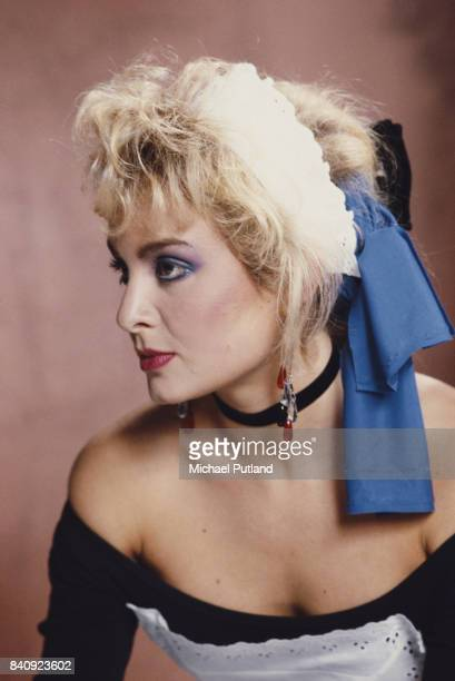 English singer Jay Aston of pop group Bucks Fizz as she appears in the video for the single 'I Hear Talk' November 1984