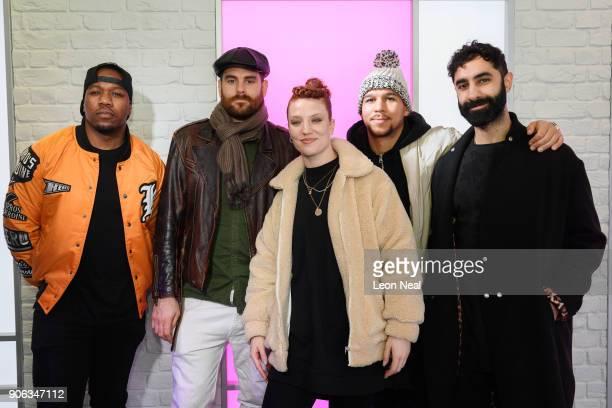 English singer Jess Glynne joins DJ Locksmith Piers Aggett Kesi Dryden and Amir Amor of UK group Rudimental as they visit Kiss FM Studio's on January...