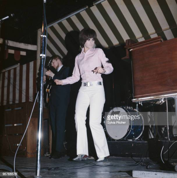 English singer Julie Driscoll performing with Steampacket at the Marquee Club London 1965 On the left is guitarist Vic Briggs
