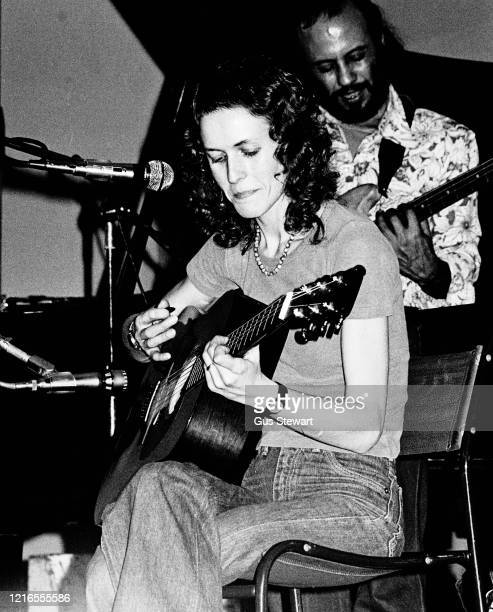 English singer Julie Driscoll performs on stage at Kings College London circa 1977