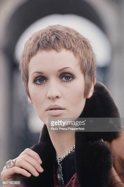 English singer Julie Driscoll pictured standing in front of Marble Arch in London in 1968