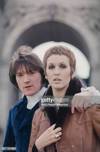 English singer Julie Driscoll pictured standing with English musician and keyboard player Brian Auger in front of Marble Arch in London in 1968 The...