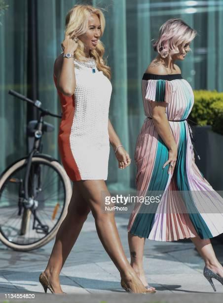 English singer Kerry Katona seen outside Dublin's Marker Hotel On Tuesday April 2 in Dublin Ireland