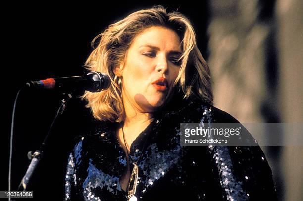 English singer Kim Wilde performs live on stage at de Goffert in Nijmegen, Netherlands on 17th August 1990.