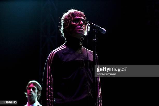 English singer Liam Gallagher performing with Oasis at the Bangkok 100 Rock Festival at Lakeside Muangthong Thani Bangkok Thailand 19th February 2006