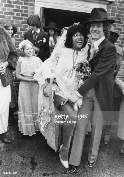 English singer Linda Lewis with guitarist Jim Cregan at their wedding at the church of St Barnabas in East Molesey Surrey 18th March 1977