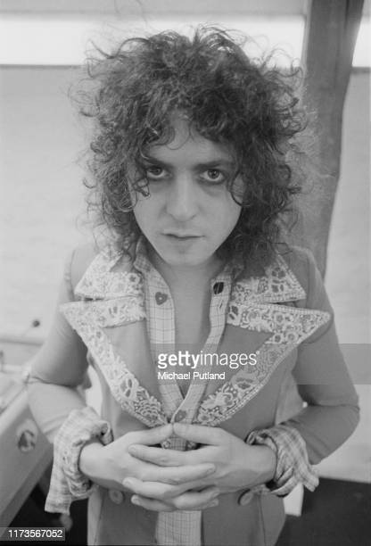 English singer Marc Bolan of British glam rock group T Rex, posed at the Chateau d'Herouville recording studio near Paris, France on 23rd October...