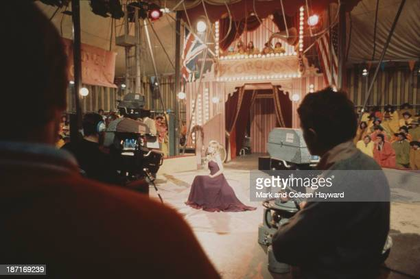 English singer Marianne Faithfull poses on the set of the Rolling Stones Rock and Roll Circus at Intertel TV Studio in Wembley London on 11th...