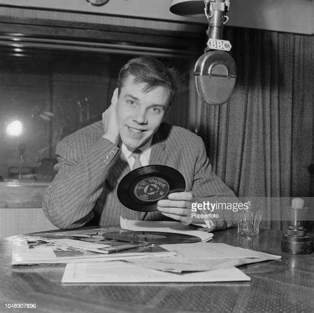 English singer Marty Wilde pictured during his interview with Roy Plomley for the BBC radio programme Desert Island Discs at Broadcasting House in...