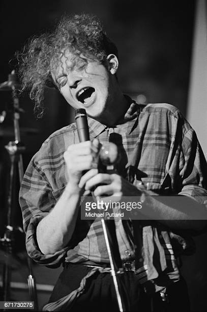 English singer Mick Hucknall on the set of a Simply Red video shoot in London September 1985