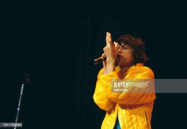 English singer Mick Jagger in concert with the Rolling Stones at Madison Square Garden New York City November 1981