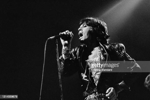 English singer Mick Jagger of the Rolling Stones at the Empire Pool in Wembley, during the group's 1973 European Tour, London, UK, 7th September 1973.