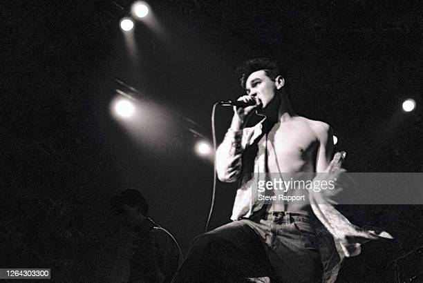 English singer Morrissey of the group the Smiths Red Wedge Tour Newcastle City Hall Newcastle 1/31/1986 During the latter half of the 1980s the Red...