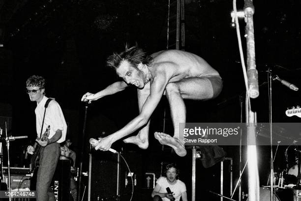 English singer Peter Murphy, of the group Bauhaus, leaps into the air as he performs during the Futurama 3 festival, Stafford, 9/5/1981. Visible at...