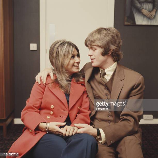English singer Peter Noone of the pop group Herman's Hermits with his fiancée Mireille Strasser 1968