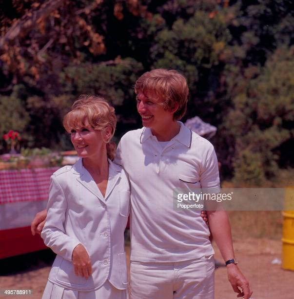English singer Petula Clark posed with English entertainer Tommy Steele in 1968