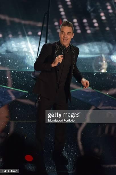 English singer Robbie Williams performs at 67th Sanremo Music Festival Sanremo february 8 2017