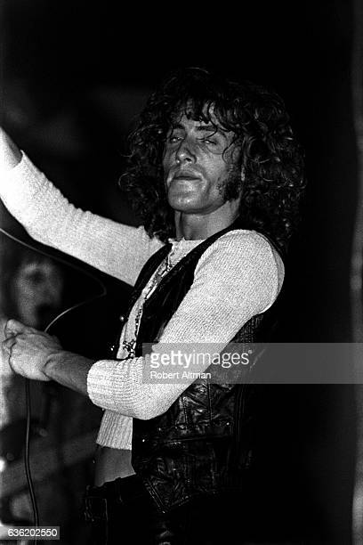 English singer Roger Daltrey of The Who sings during the 'Tommy' Premiere on June 19 1969 at the Fillmore West in San Francisco California