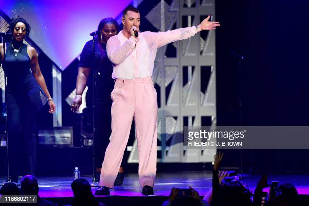 English singer Sam Smith performs onstage during the KIIS FM's iHeartRadio Jingle Ball at the Forum Los Angeles in Inglewood California on December 6...