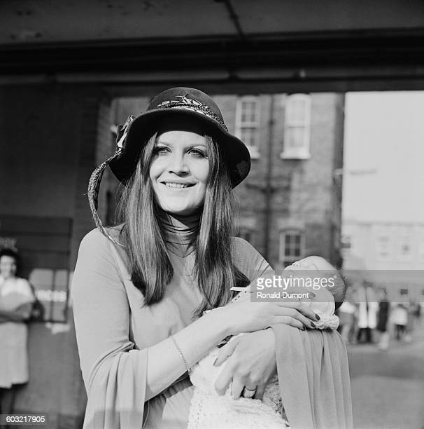 English singer Sandie Shaw and her baby daughter Gracie leave Lewisham Hospital in London UK 4th February 1971