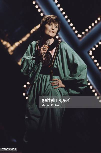 English singer Sandie Shaw performs live on a television show in London in 1972