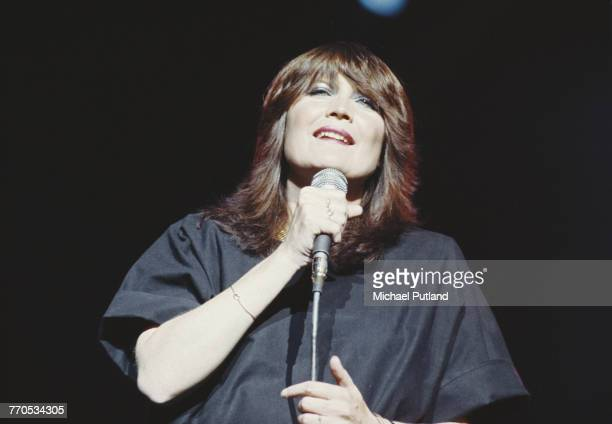 English singer Sandie Shaw performs live on stage circa 1976