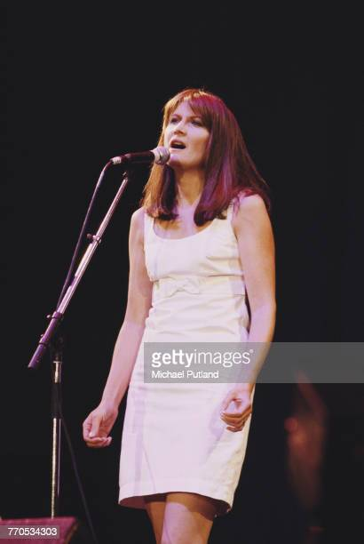 English singer Sandie Shaw performs live on stage circa 1987