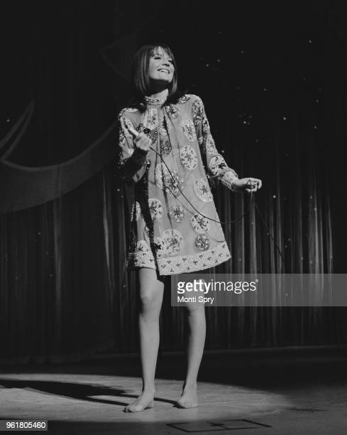 English singer Sandie Shaw rehearses barefoot at the London Palladium for the next day's Royal Variety Performance 12th November 1967 Queen Elizabeth...