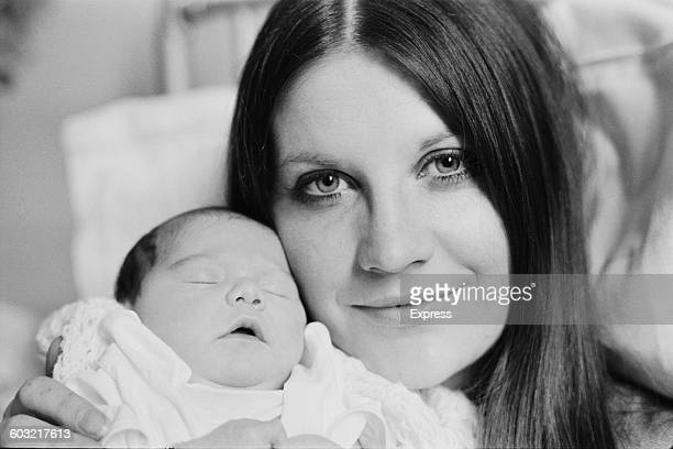 English singer Sandie Shaw with her new baby daughter Gracie at Lewisham Hospital in London UK 31st March 1971