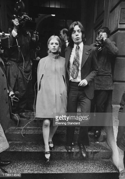 English singer songwriter and actress Marianne Faithfull and English singer songwriter actor and film producer Mick Jagger leaving Marlborough Street...