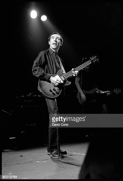 English singer songwriter and guitarist Pete Shelley performing with the Buzzcocks at The Venue London 1979