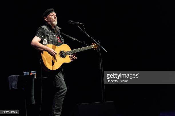 English singer songwriter and guitarist Richard Thompson performs on stage at Usher Hall on October 17 2017 in Edinburgh Scotland
