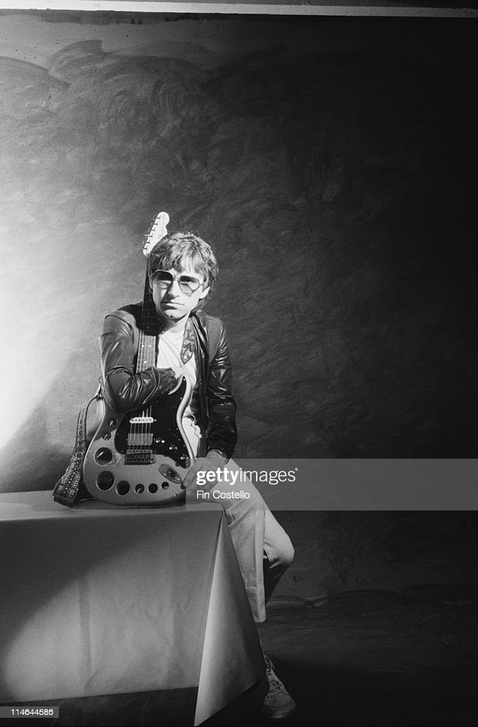 English singer, songwriter and guitarist Russ Ballard posed with his guitar in London in October 1985.