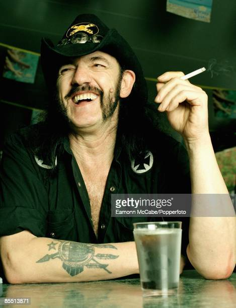 English singer songwriter and musician Lemmy of Motorhead enjoys a glass of Jack Daniels and ice at the Rainbow Bar and Grill on Sunset Boulevard in...
