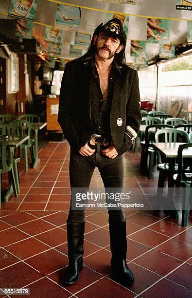 English singer songwriter and musician Lemmy of Motorhead posed on the terrace at the Rainbow Bar and Grill on Sunset Boulevard in Hollywood Los...
