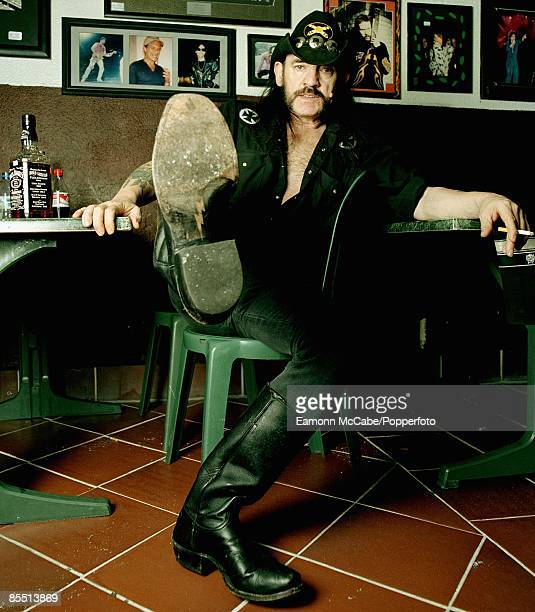 English singer songwriter and musician Lemmy of Motorhead seated at the Rainbow Bar and Grill on Sunset Boulevard in Hollywood Los Angeles in May 2004